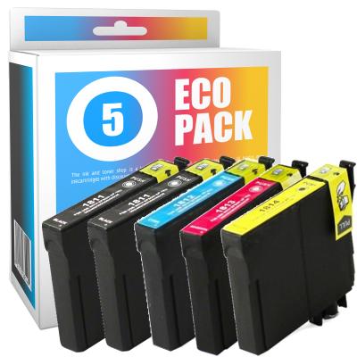 Pack de 5 cartouches d'encre compatibles  -  EPSON 18XL  -  2 noir + 1 cyan + 1 magenta + 1 jaune  -  (C13T18164010)  -  grande capacité